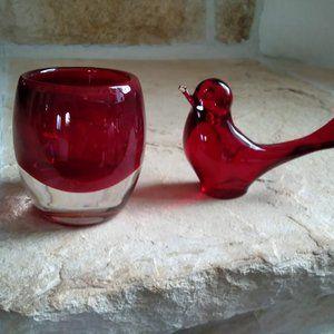 Red Glass Votive Cup & Bird- Vintage